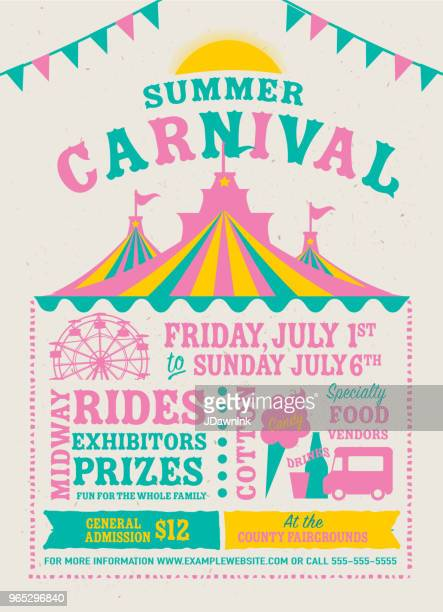 Colorful Summer Carnival Poster design template
