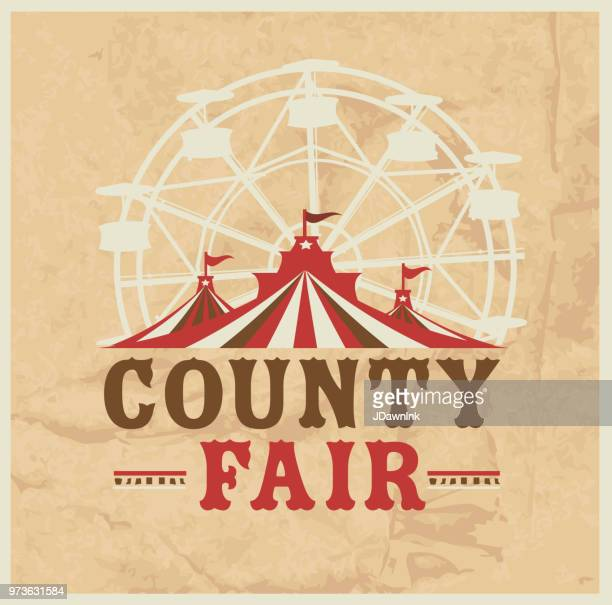 Colorful Summer County Fair emblem design template