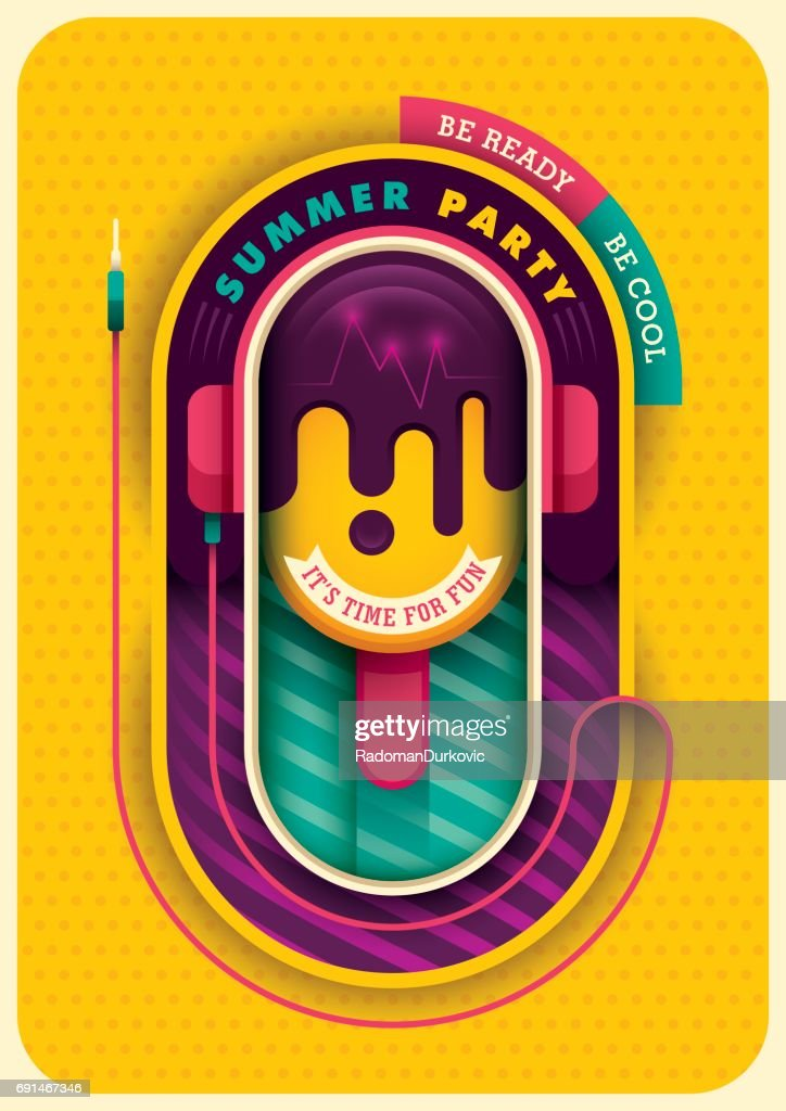Colorful summer party poster.