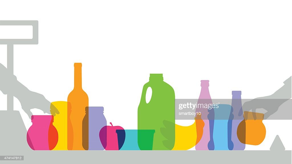 Colorful supermarket checkout silhouettes