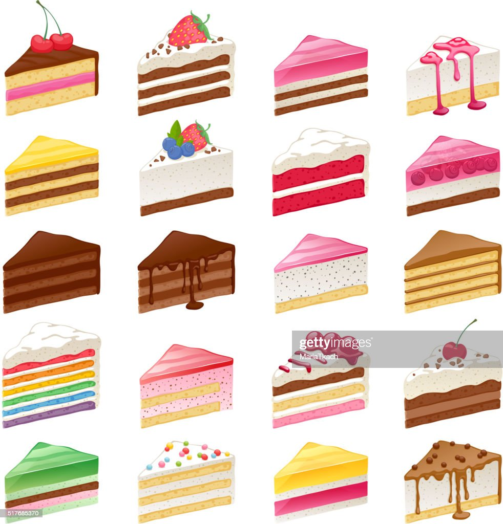 Colorful sweet cakes slices set vector illustration