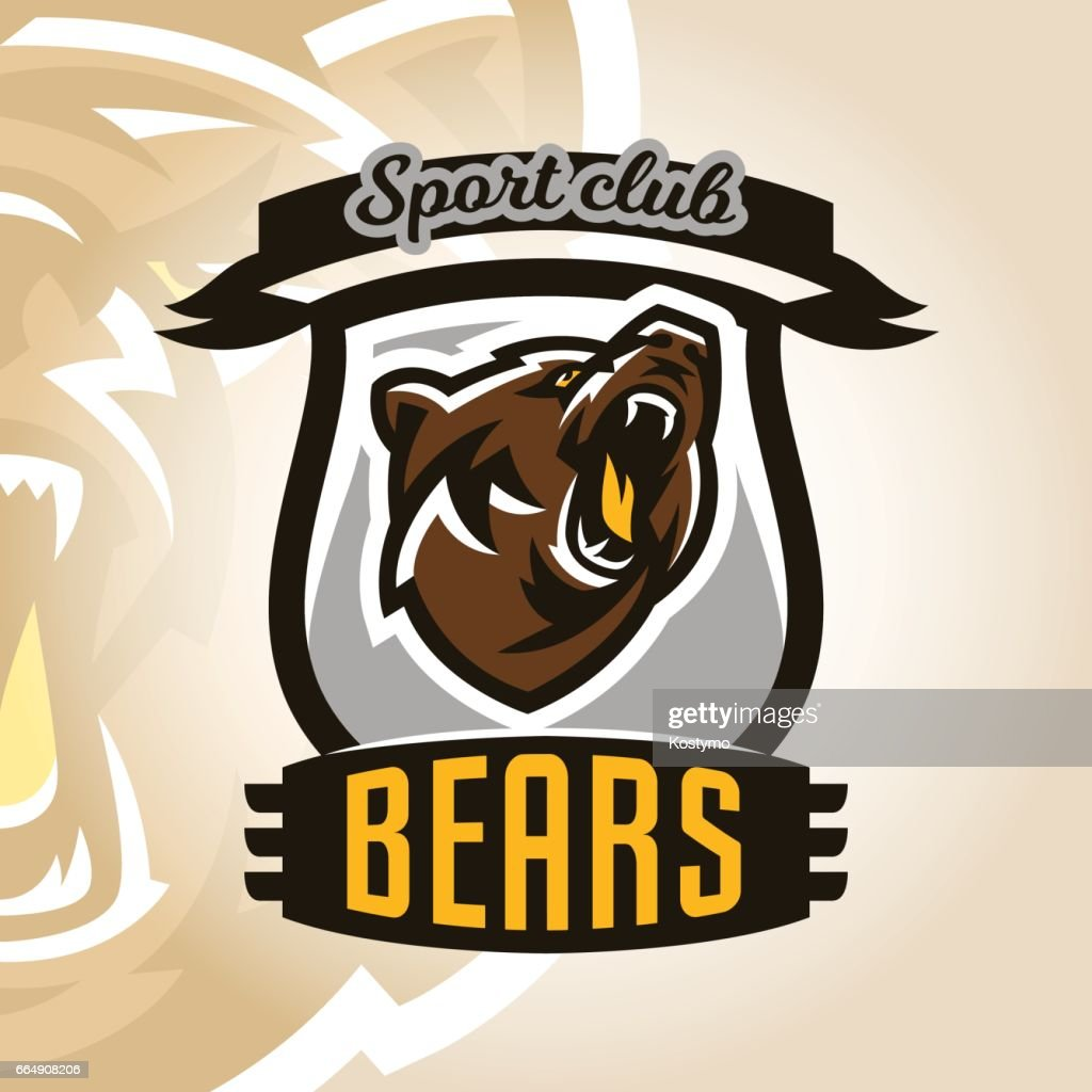 Colorful symbol, emblem, growling bear, grizzly, evil predator ready to attack. Sports style, vector illustration, printing on T-shirts