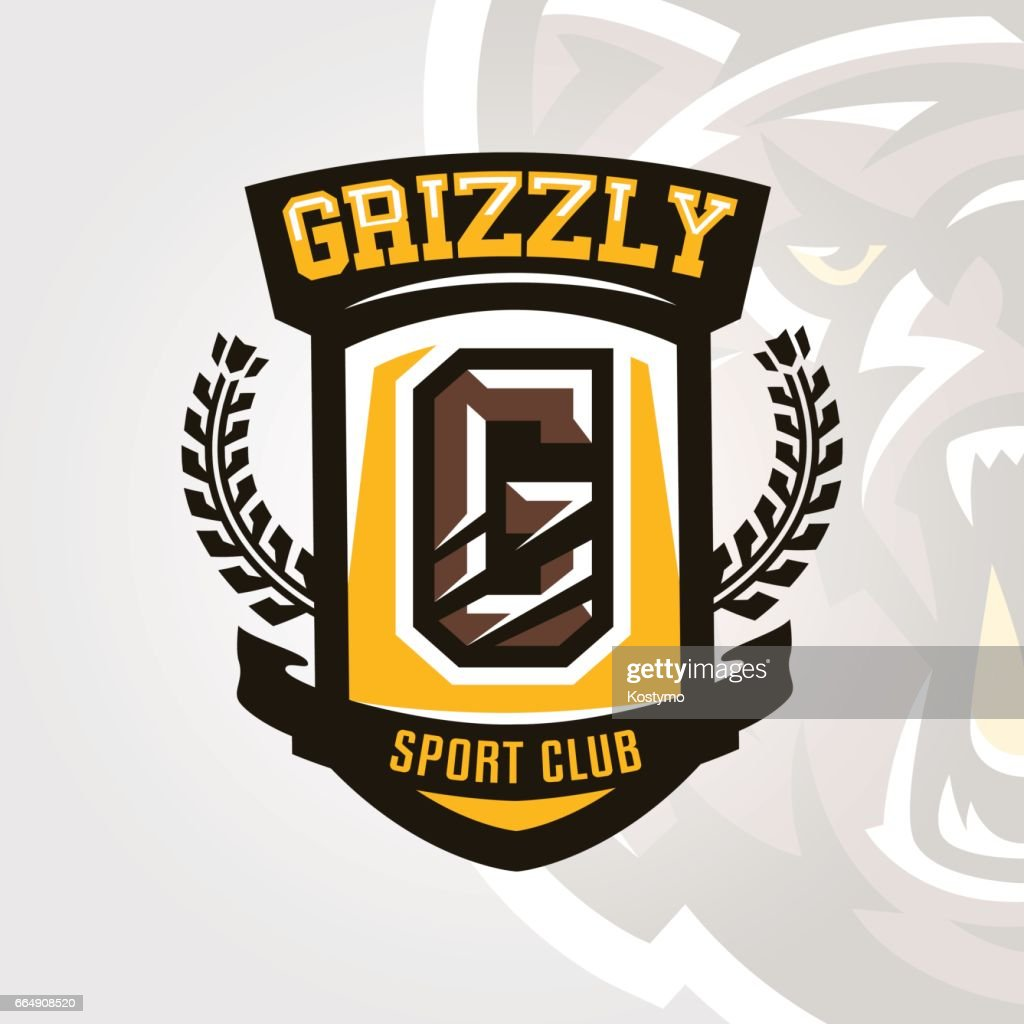 Colorful symbol, emblem, letter the scratched claw angry bear, grizzly. Vector illustration, dynamic and sporty style, printing on T-shirts