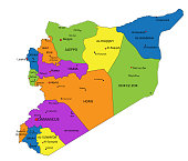 Colorful Syria political map with clearly labeled, separated layers.