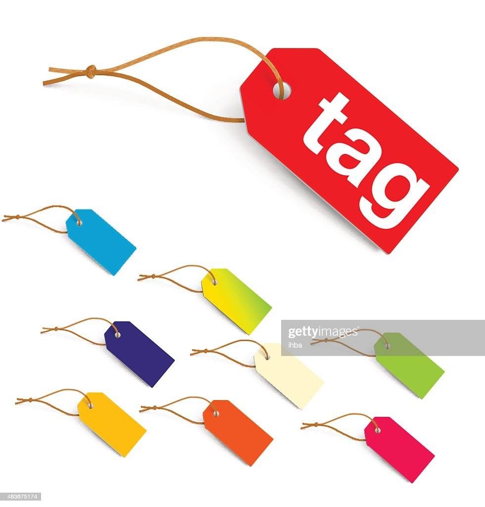 Colorful tags isolated on white background. Vector illustration