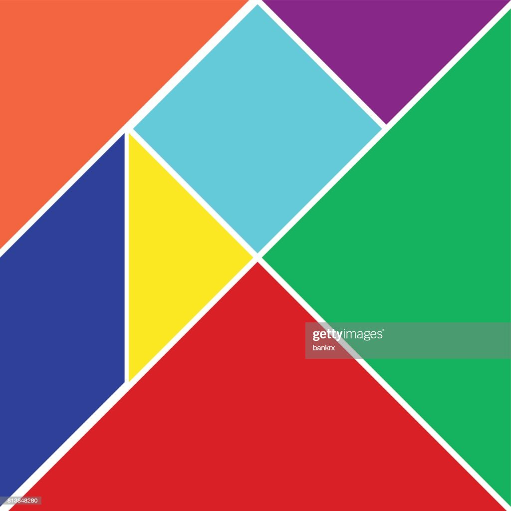 Colorful tangram on white background