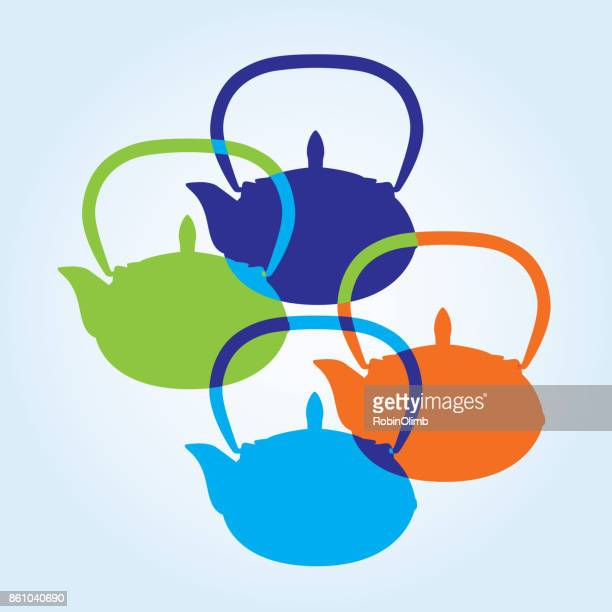 colorful teapot - steeping stock illustrations, clip art, cartoons, & icons