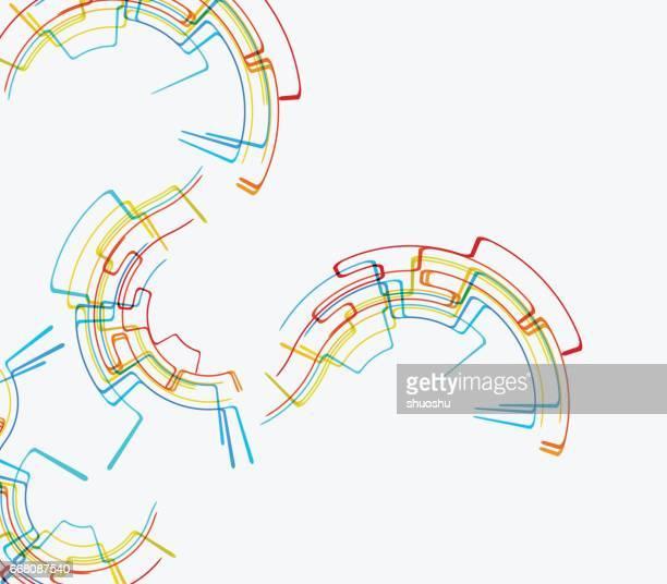 ilustrações, clipart, desenhos animados e ícones de fundo da linha colorida de tecnologia - movimento