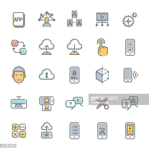 colorful technology minimalist line icon set 1 - interactivity stock illustrations, clip art, cartoons, & icons