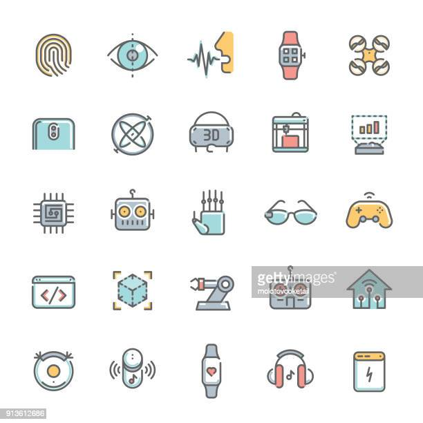 colorful technology minimalist line icon set 2 - speech recognition stock illustrations