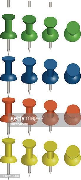 colorful thumb tacks - thumbtack stock illustrations, clip art, cartoons, & icons