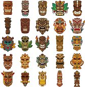 Colorful Tiki Head Design Set