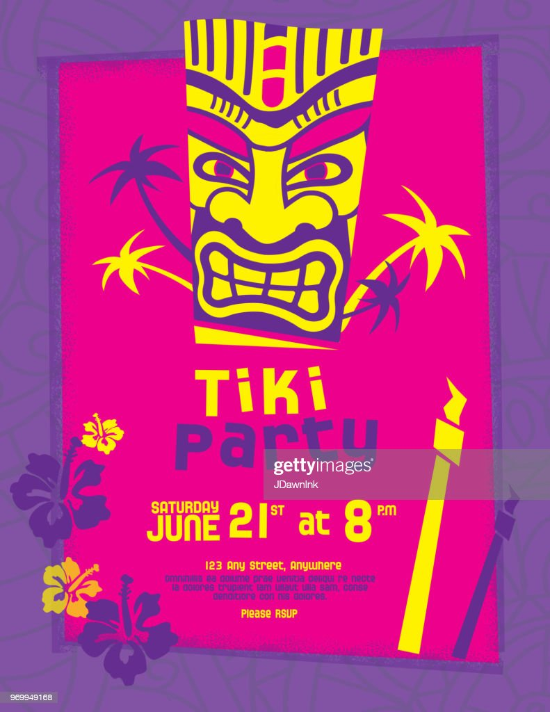 Colorful Tiki Party Invitation Design Template Vector Art   Getty Images
