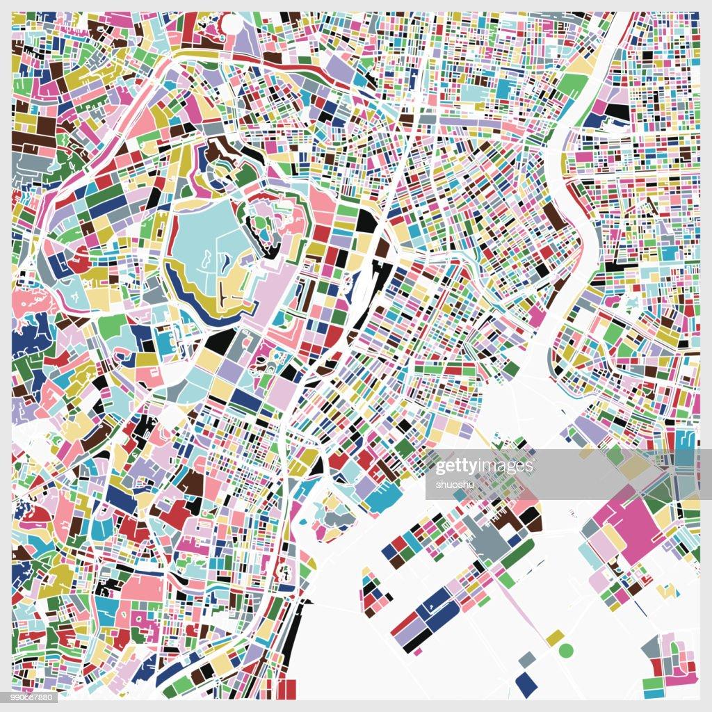colorful Tokyo art map background : stock illustration