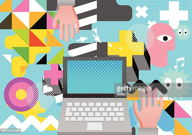 colorful tokyo design on computing - tokyo japan stock illustrations, clip art, cartoons, & icons