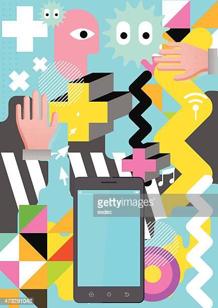 Colorful tokyo design on smartphone