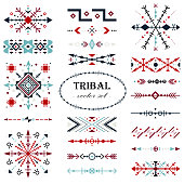 Colorful traditional vector set. Brush set in tribal style.