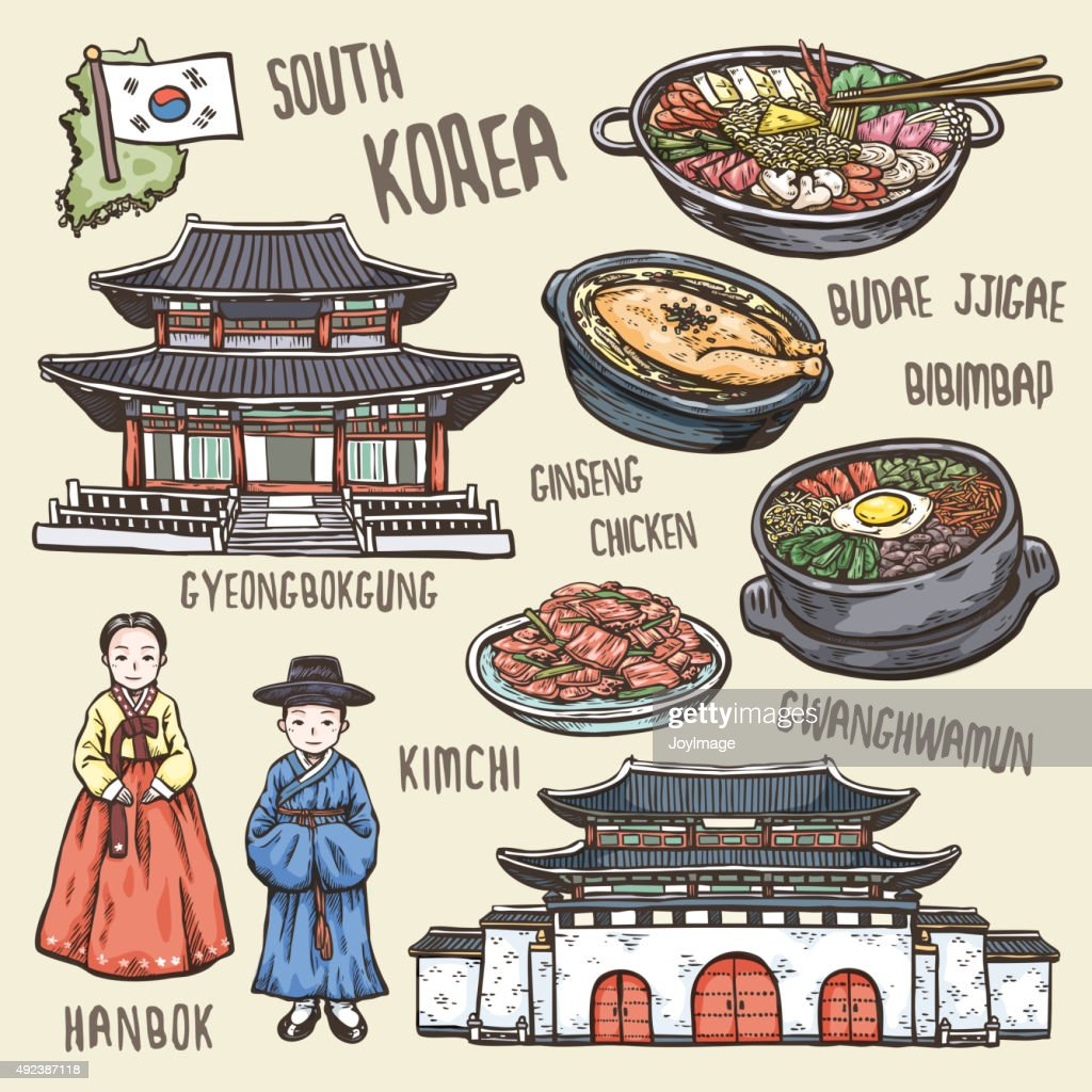 colorful travel concept of south Korea