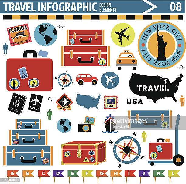 colorful travel design icons displayed on white background - travel tag stock illustrations, clip art, cartoons, & icons