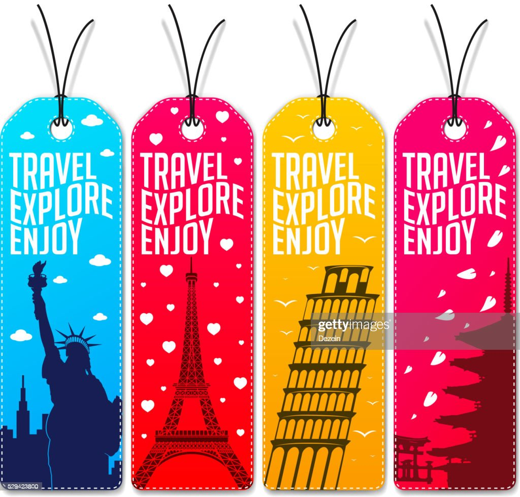 Colorful Travel Explore Enjoy Beautiful Tags or Bookmarks