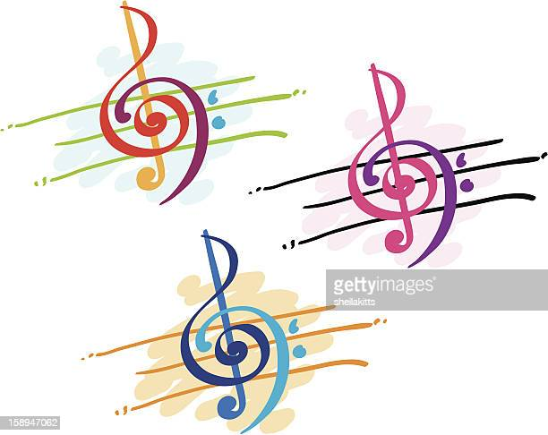 colorful treble and bass clefs - sheet music stock illustrations, clip art, cartoons, & icons
