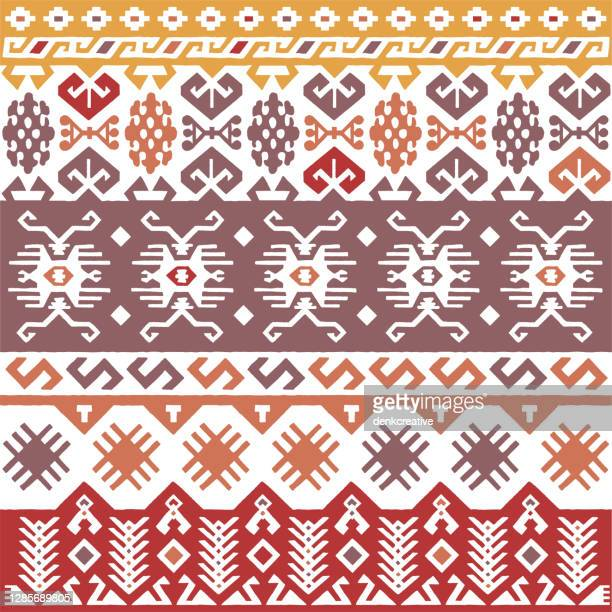 colorful tribal navajo seamless pattern - tradition stock illustrations