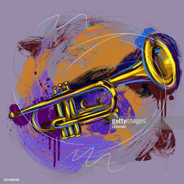 colorful trumpet - musical instrument stock illustrations, clip art, cartoons, & icons