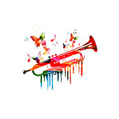 Colorful trumpet with music notes