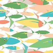 Colorful Tuna shoal swimming in the sea seamless pattern