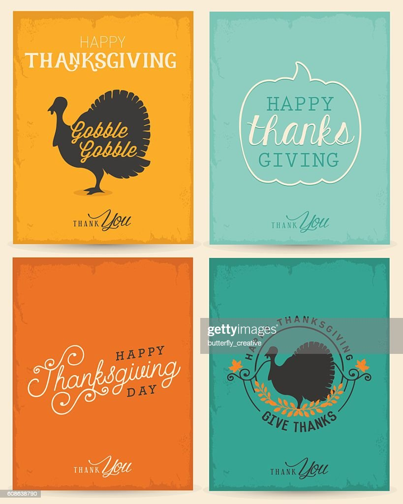 Colorful Typographical Thanksgiving Greeting Card Set
