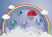 Colorful umbrella in the air with rainbow.