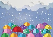 colorful umbrella in the air with rainning