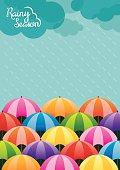 Colorful Umbrella in the Rain, Rainy Season