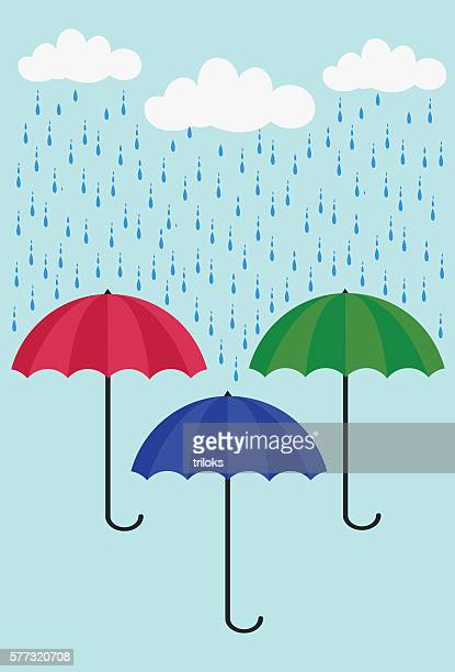 colorful umbrella - monsoon stock illustrations, clip art, cartoons, & icons