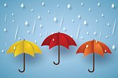 Colorful umbrella with rain
