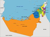 Colorful United Arab Emirates political map with clearly labeled.