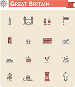 Colorful United Kingdom travel and tourism icon set