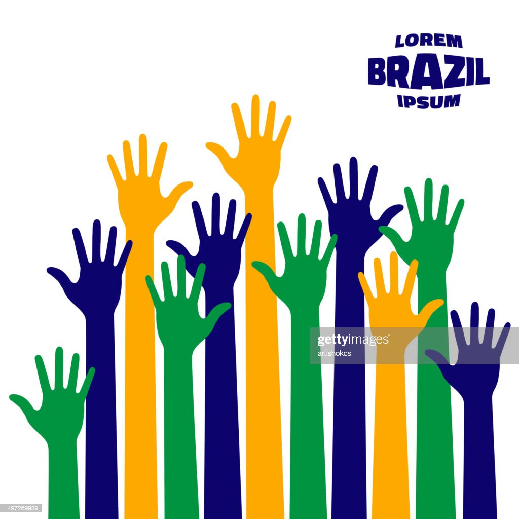 colorful up hands icon using Brazil flag colors