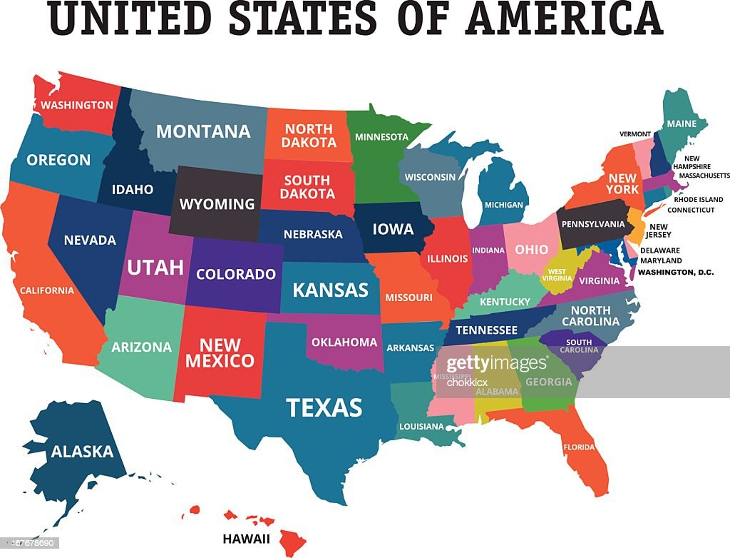 Colorful Usa Map Vector Art Getty