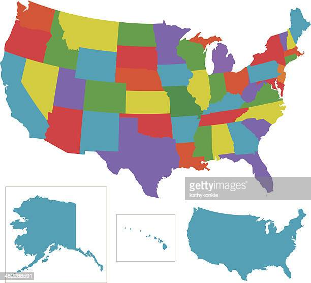 colorful usa with individual states outlines - alaska us state stock illustrations