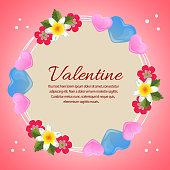 colorful valentine card with love and flower ornate