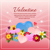 colorful valentine card with love shape and flower decoration