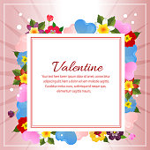colorful valentine flower and love decoration square text