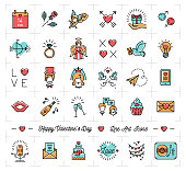 Colorful Valentine icons, flat design line thin style, love symbols