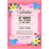 colorful valentine party poster template with flower ornate