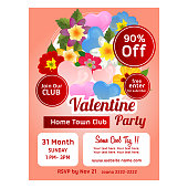 colorful valentine poster template with love and flower