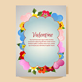 colorful valentine poster template with love shape and flower