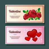 colorful valentine season love and rose decoration horizontal banner