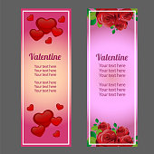 colorful valentine vertical banner with love and red rose ornate
