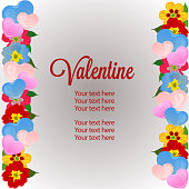 colorful valentine vertical border template with love and flower